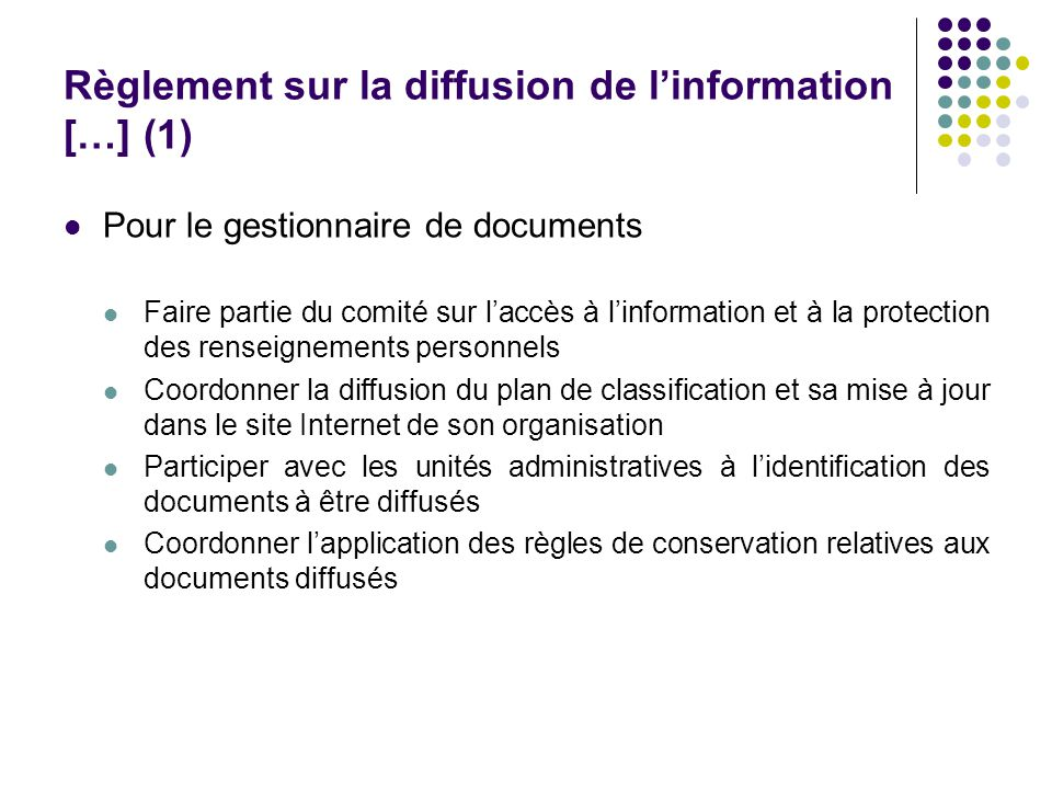 Règlement sur la diffusion de l'information […] (1)